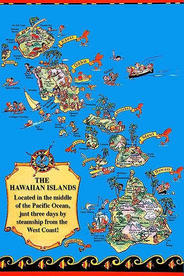 Island Map Postcard