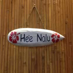 He'e Nalu Surfboard Sign in White