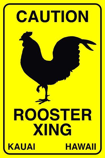 Rooster Crossing Metal Sign