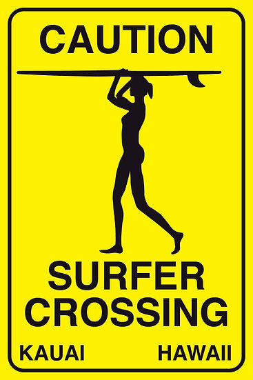 Surfer Crossing Female Metal Sign