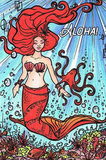 CH Red Mermaid Postcard