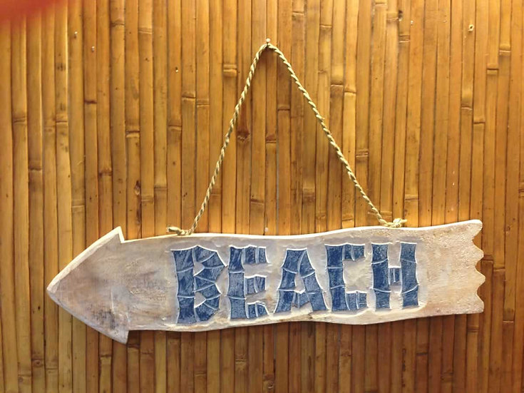 Left Hand Beach Arrow Sign in White