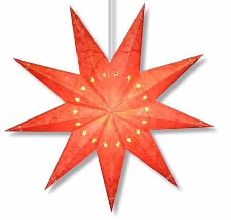 Batik Star Lamp Red - 7 point