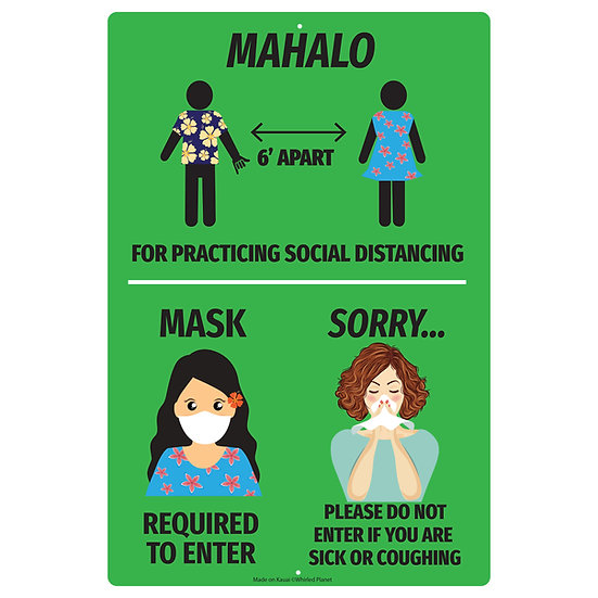 3 in 1 Mahalo Metal Sign