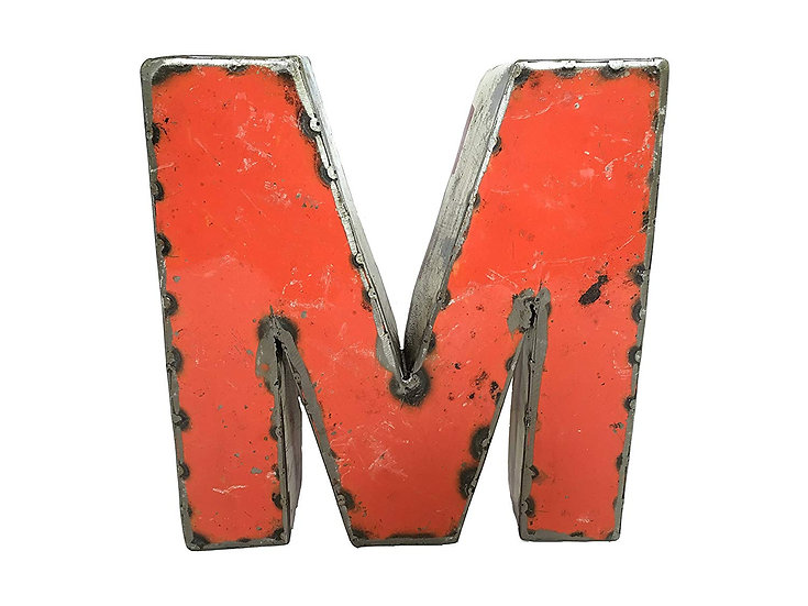 """Recycled Metal Letter """"M"""""""