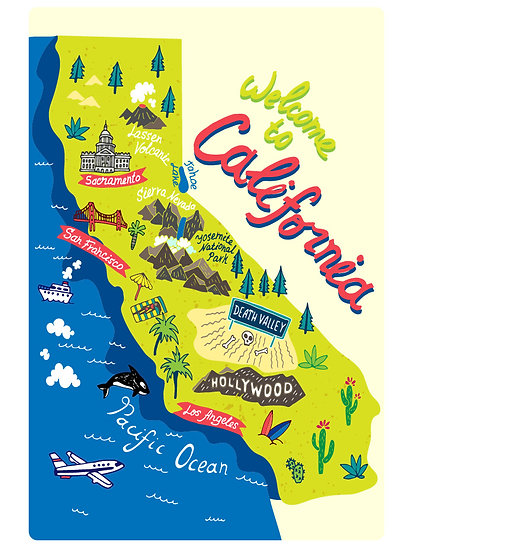 California Illustrated Map Postcard