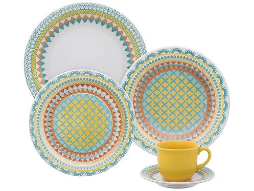 Aparelho de Jantar e Chá em Cerâmica Oxford-20 Peças-Floreal Bilro