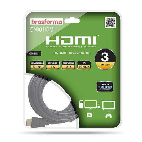 CABO HDMI C.CONECTORES 2.0V 3.00M BRASFOMA