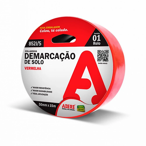 FITA ADESIVA DEMARCACAO 50X15M VERMELHA 852I/S ADERE