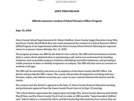 Officials announce creation of School Resource Officer Program