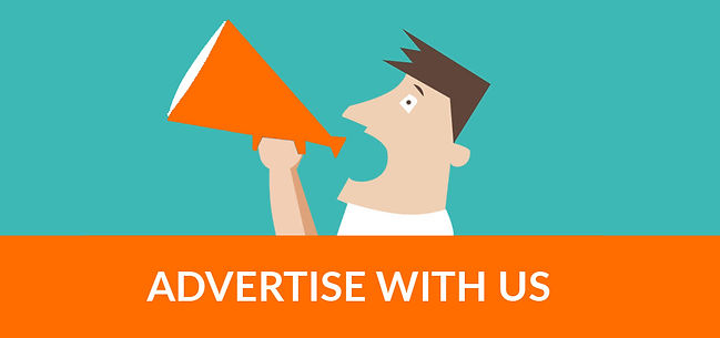 """Man with bullhorn with text """"advertise with us"""" undernath him"""