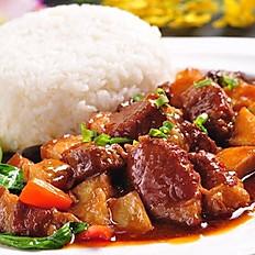 жареная свинина с картошкой и рис