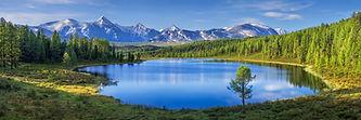 Mountain landscape, lake and mountain ra