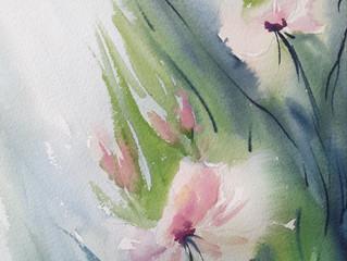 שיעור אקוורל בנושא פרחים