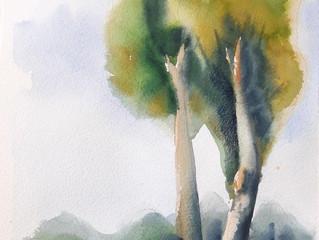 שיעור אקוורל בנושא עצים