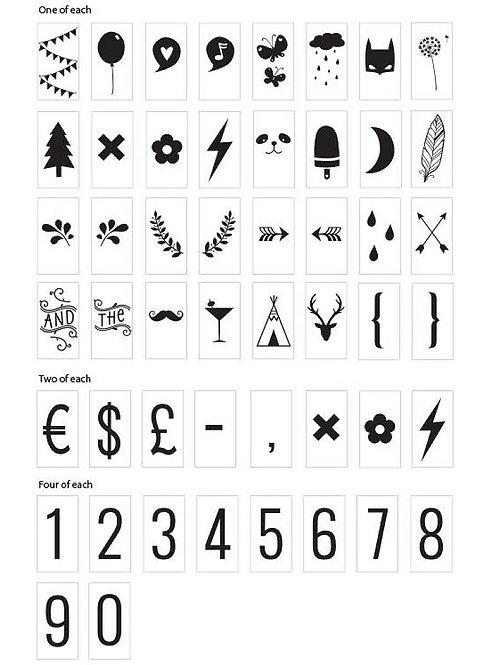 Números y símbolos para caja de luz