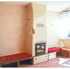 Bâti cheminée, enduit plâtre chaux terre