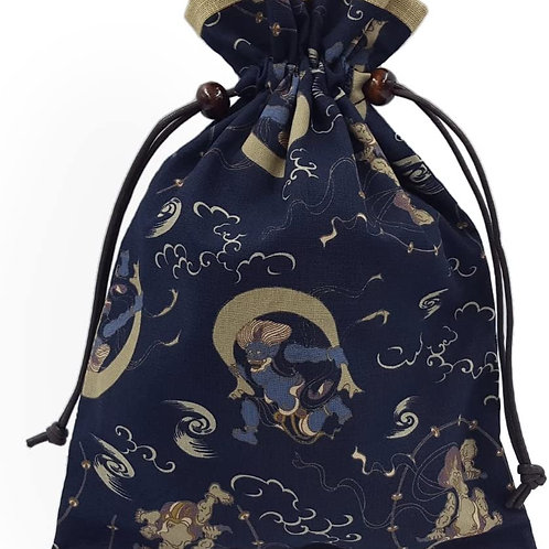 巾着袋 裏地付き 和柄 風神雷神柄 日本製 御朱印帳入れ 御朱印帳袋 和小物 和柄 和雑貨 和風