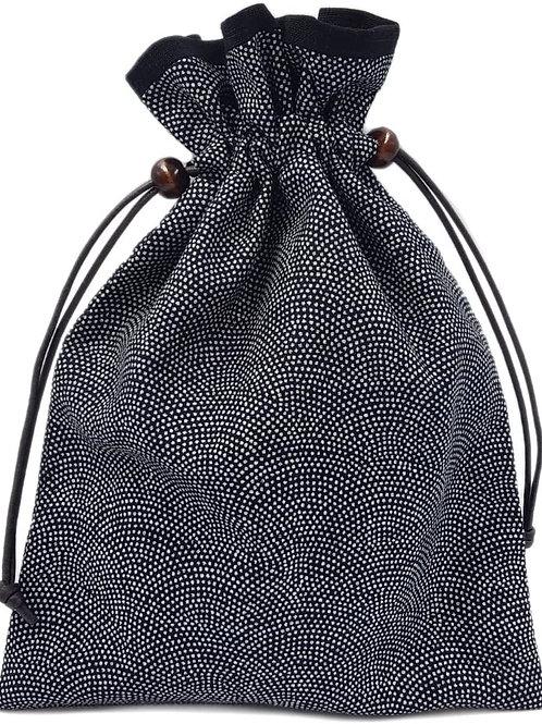 巾着袋 裏地付き 和柄 鮫小紋×黒 日本製 御朱印帳袋
