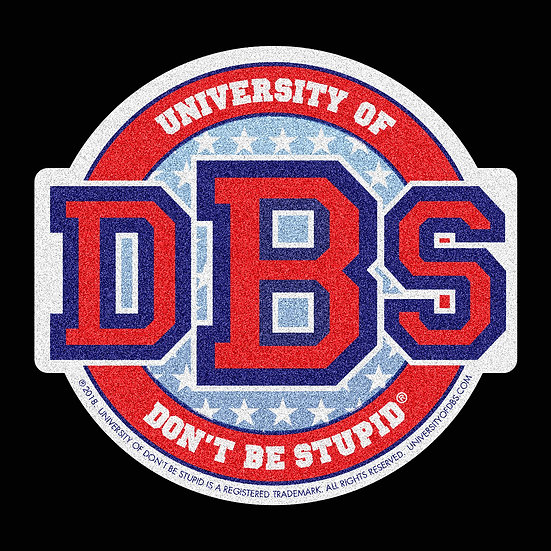 "University of DBS - 4"" Red Stars & Stripes Glitter Decal"