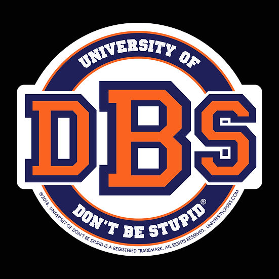 "University of DBS - 4"" Round Die-cut Decal - Royal Blue & Orange"