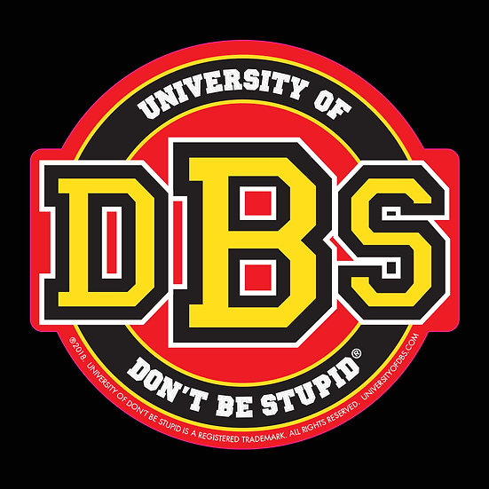"University of DBS - 4"" Euro Racing Red, Yellow & Black Glitter Decal"