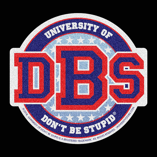 "University of DBS - 4"" Blue Stars & Stripes Glitter Decal"