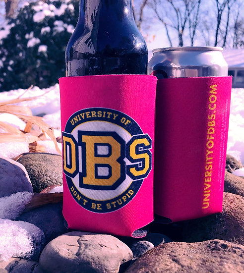 University of DBS 12oz. Bottle / Can Cooler - Pink