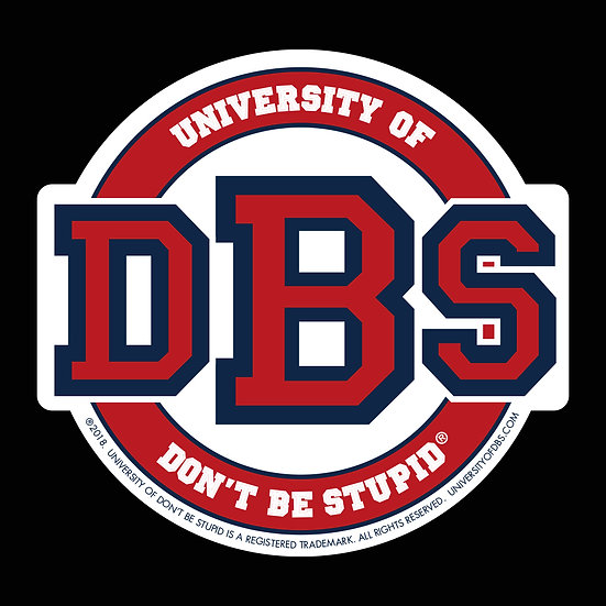 "University of DBS - 4"" Round Die-cut Decal - Red & Navy"
