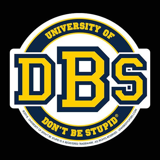 "University of DBS - 4"" Round Die-cut Decal - Navy & Gold"