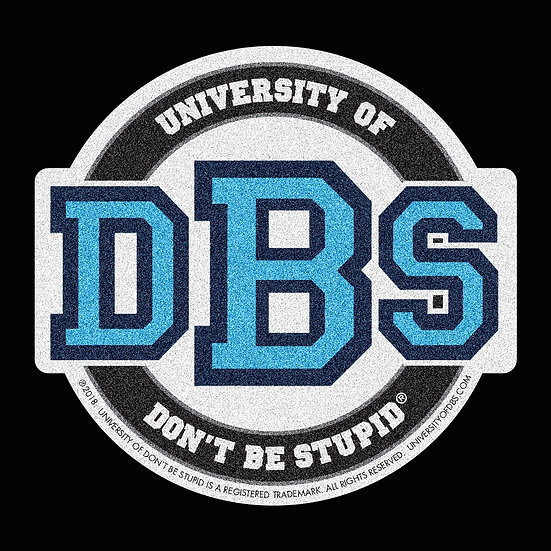 "University of DBS - 4"" Euro Racing Blue Glitter Decal"
