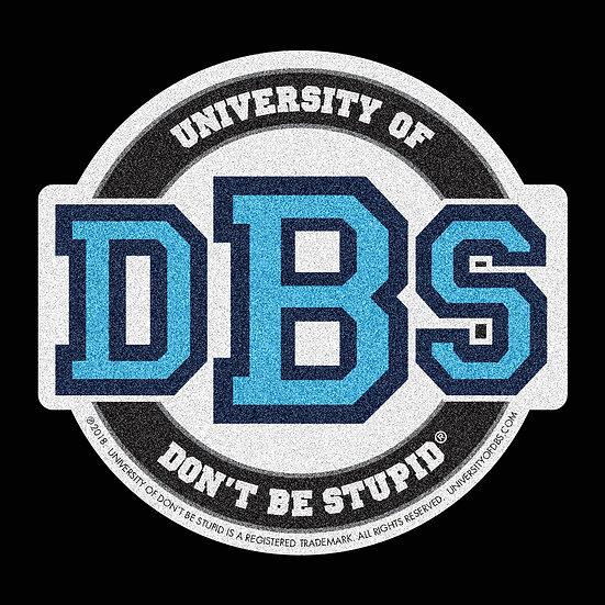 "University of DBS - 4"" Euro Racing Blue Glitter Decal"