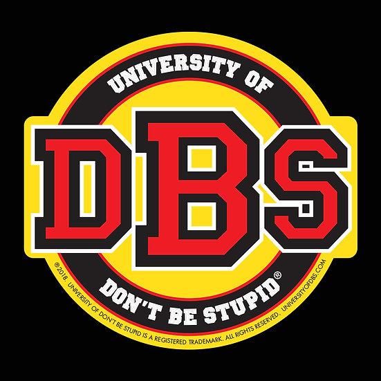 "University of DBS - 4"" Euro Racing Yellow, Red & Black Glitter Decal"