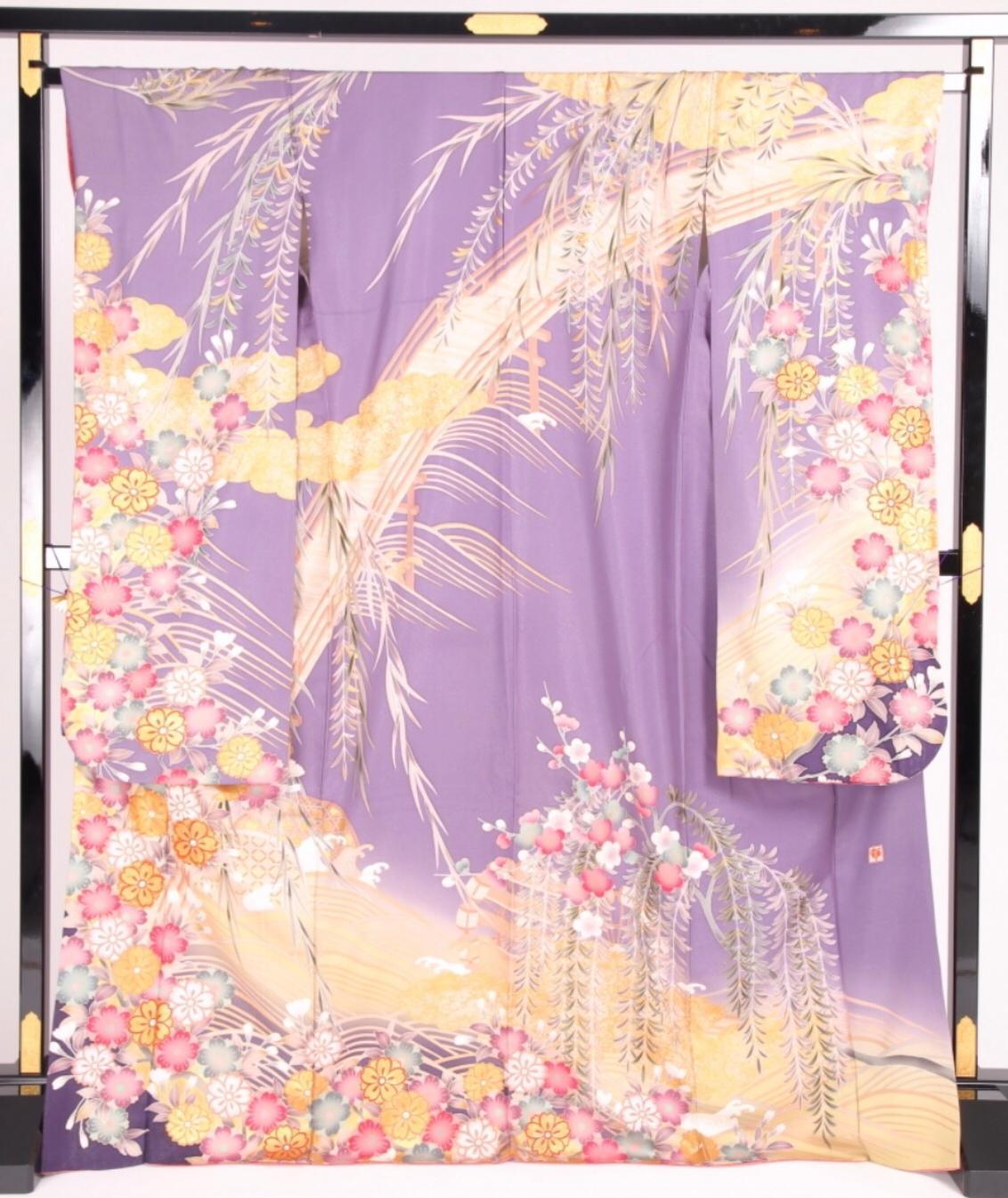 CLASS A 紫黃藤花櫻流水正絹振袖