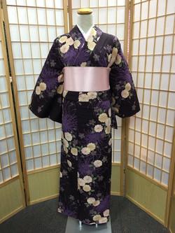 深紫色爪菊八重櫻化纖袷小紋