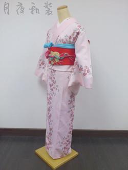 粉紅小櫻花化纖袷小紋