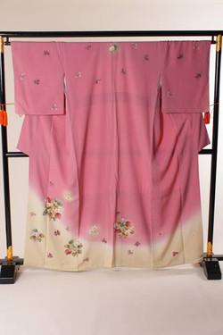 深粉紅漸變色小花正絹訪問著