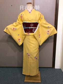 卵黃色櫻花化纖袷小紋