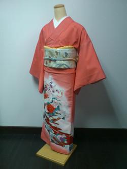 桃紅牡丹飛鶴化纖色留袖