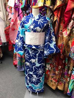 青x琉璃紺お花と猫速乾化纖浴衣(2L size)