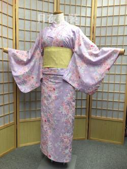 粉紫色櫻花變織浴衣