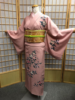 粉紅色枝椿正絹單衣訪問着