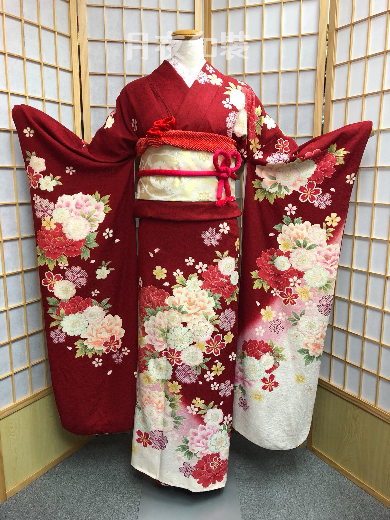 CLASS A 紅白色牡丹櫻花正絹振袖