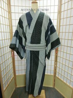 灰藍直縞男裝浴衣