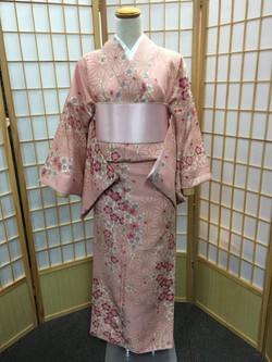 粉紅色串櫻麻葉化纖袷小紋