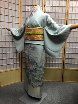灰綠色平安京風景正絹色留袖