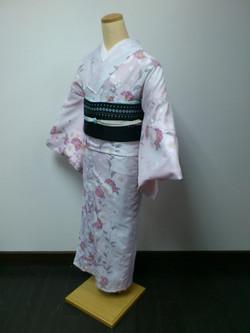 薄紫八重櫻化纖單衣小紋