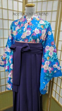 彩藍色熨金八重櫻二尺袖
