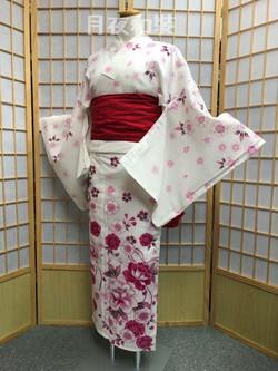 白色牡丹櫻花紅梅織高級浴衣