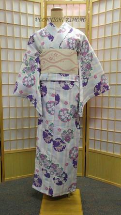 紫藍雪輪櫻菊化纖單衣小紋
